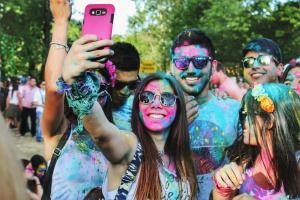 Gen-Z taking group selfie